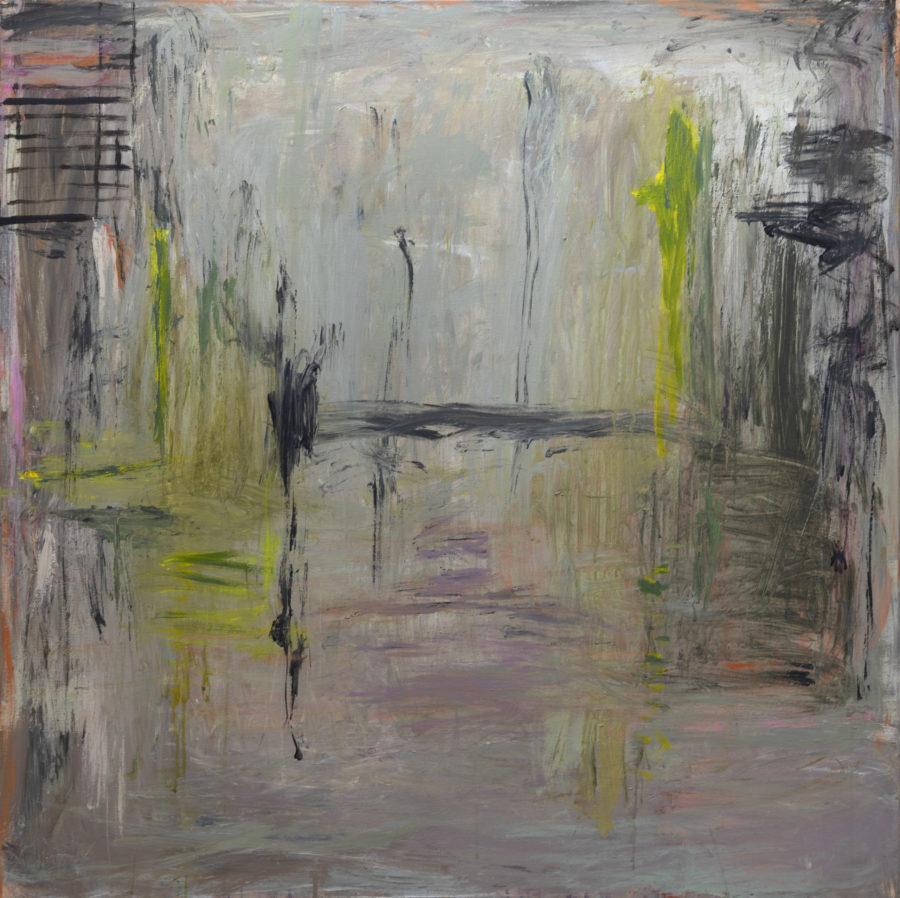 Abstrakti maalaus, harmaata jonka seassa värejä: keltaista, violettia, oranssia, ruskeaa.