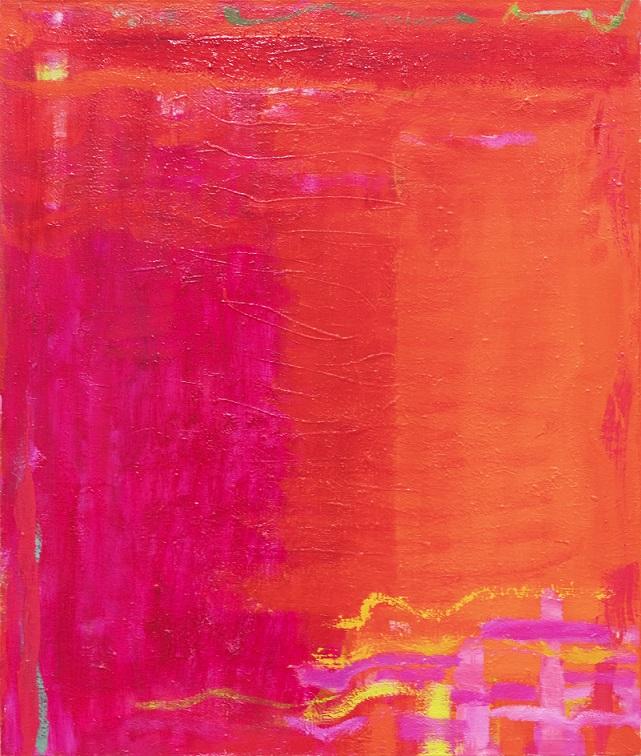 Minimalistinen abstrakti maalaus, jossa punaista, magentaa, oranssia ja häivähdys keltaista.