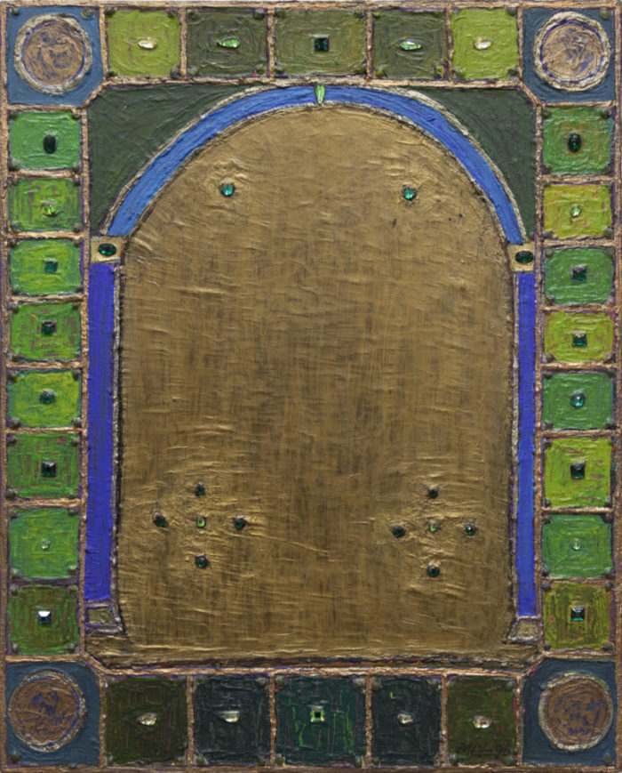 Koristeellinen maalaus vihreän, sinisen ja ruskean sävyissä, sisältää timantteja.