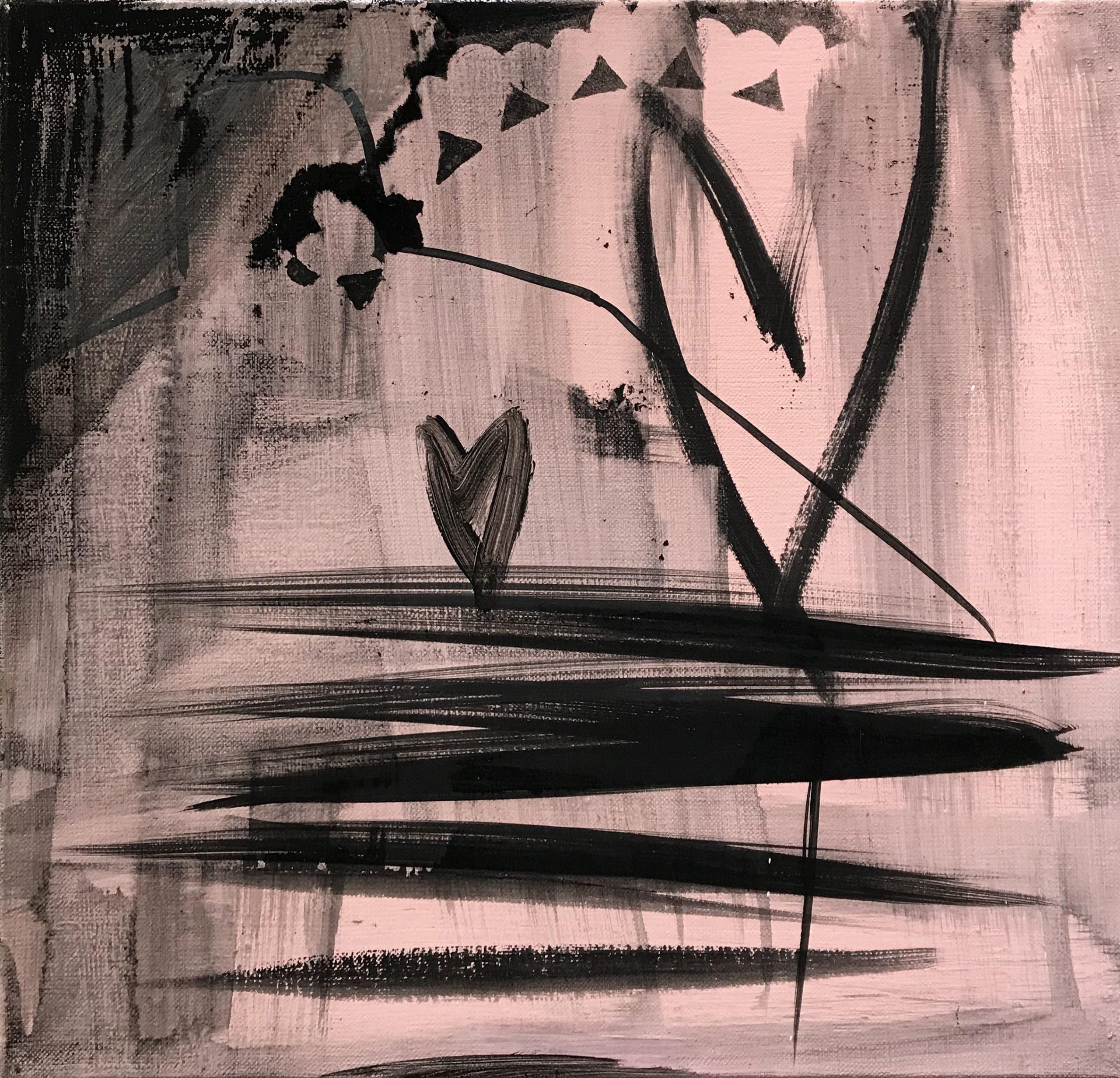 Mustia maalausjälkiä vaaleanpunertavalla taustalla. Kaksi mustaa sydäntä.