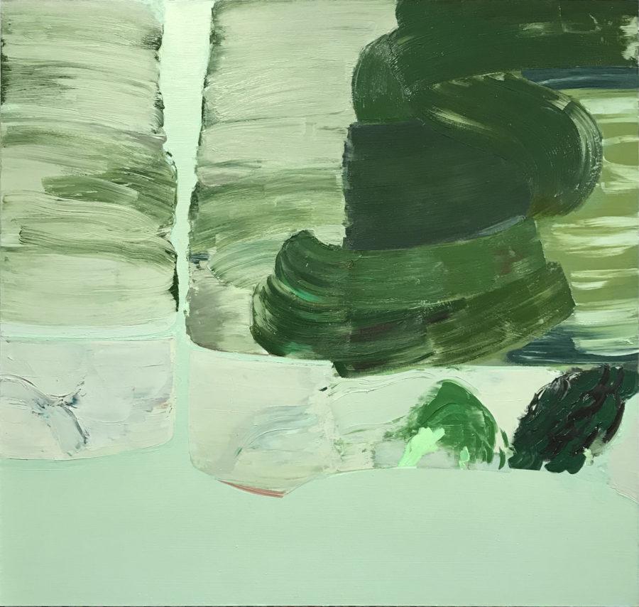 Vihreä abstrakti maalaus, voimakkaita siveltimenvetoja.