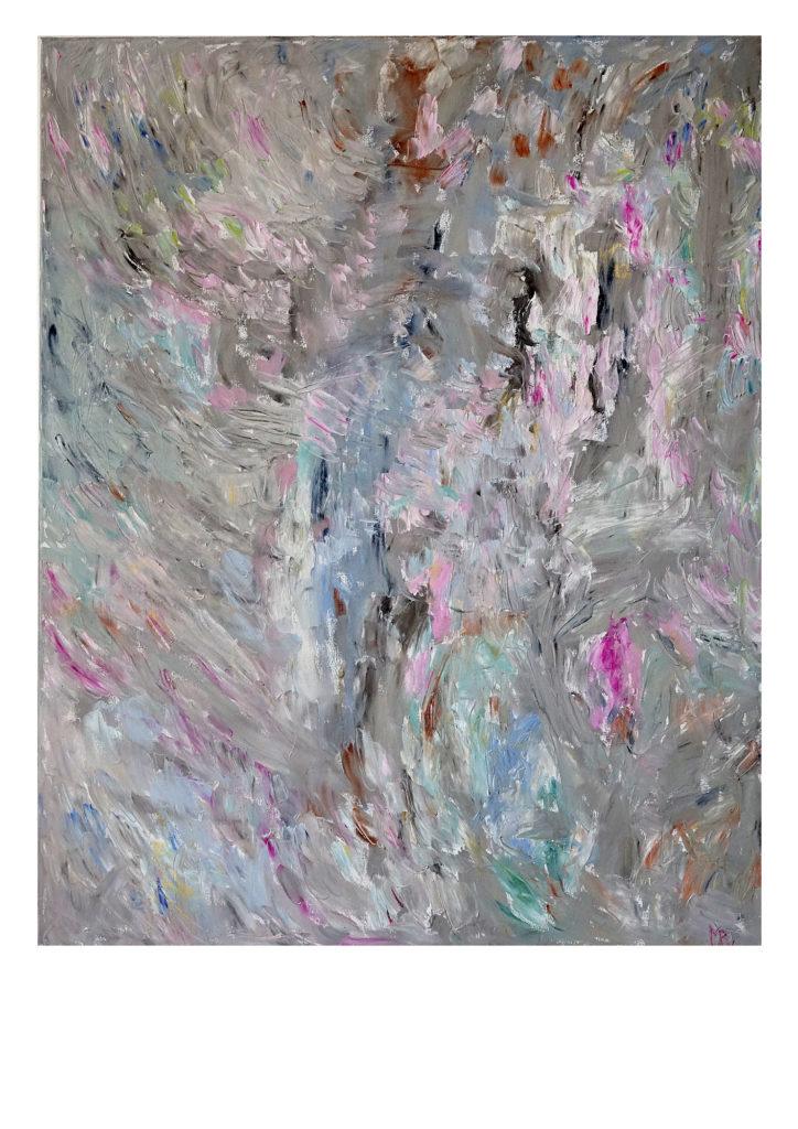 Harmahtava abstrakti maalaus, värikkäitä läikkiä.