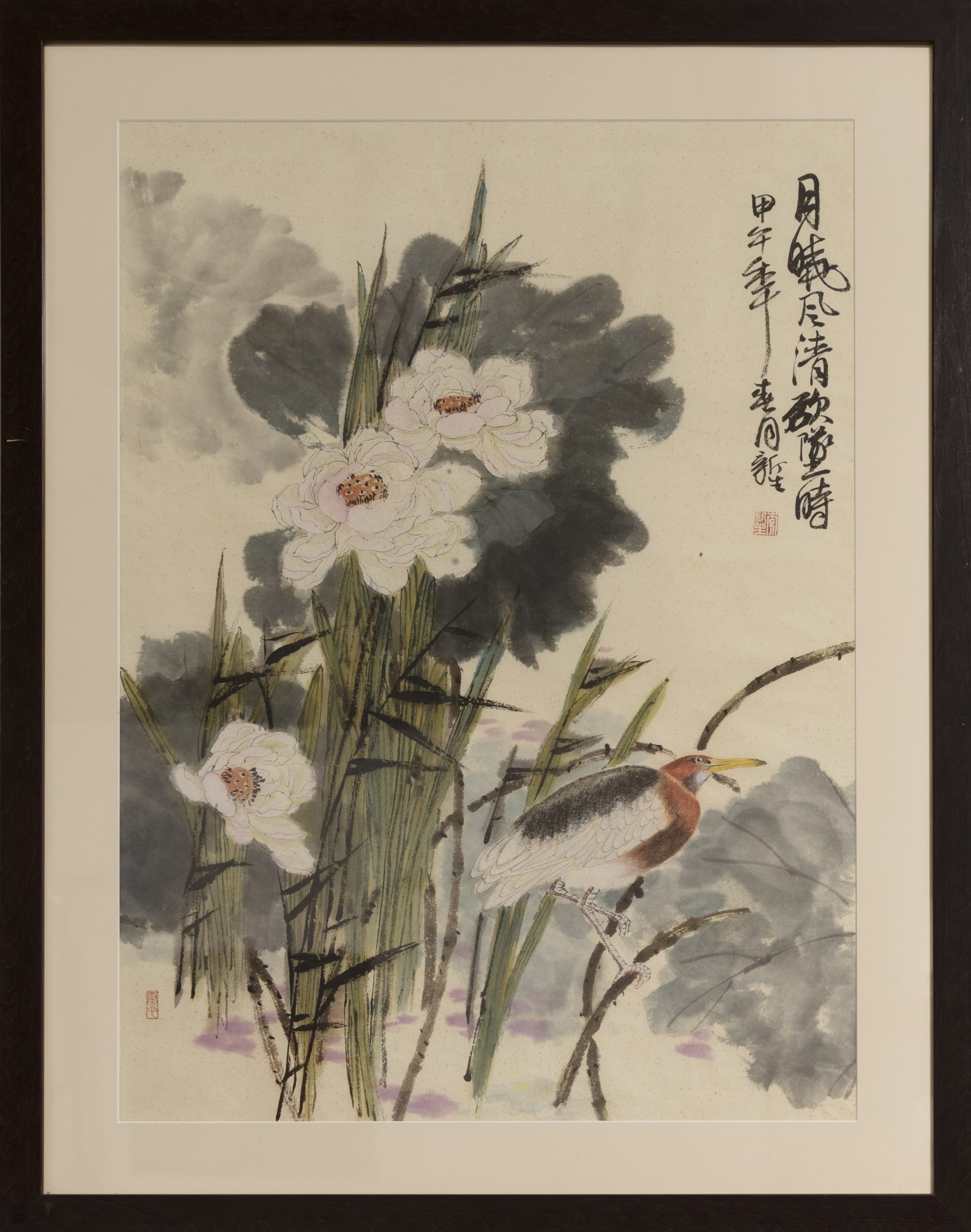 Japanilaistyylinen, kukkia ja lintu.