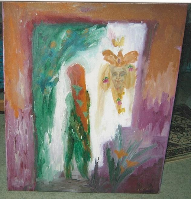 Värikäs maalaus, jossa kaksi epämääräistä ihmishahmoa.