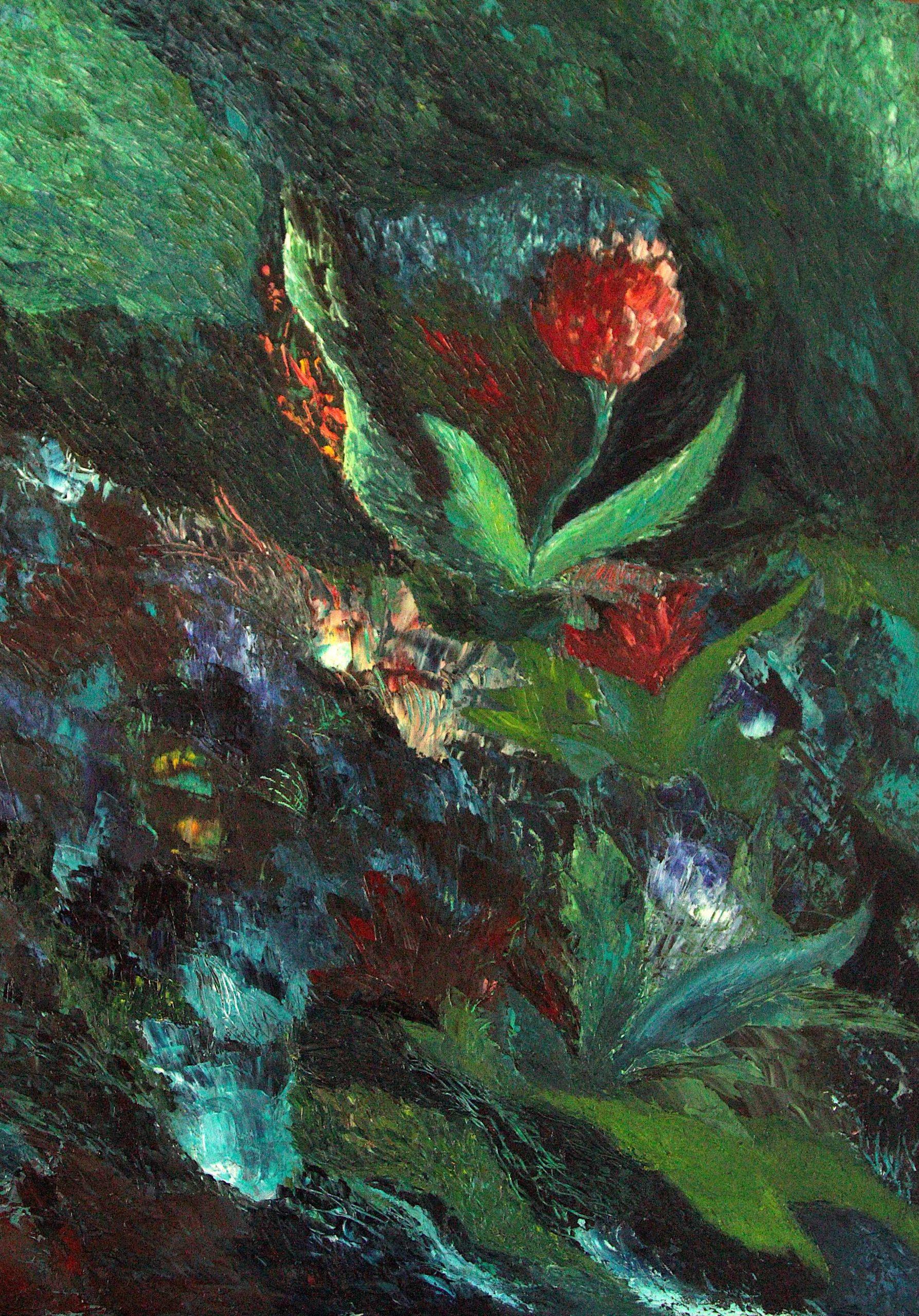 Tumma, värikäs, tekstuurillinen maalaus. Impressionistisia kukkia, sinisen, vihreän ja punaisen sävyjä.