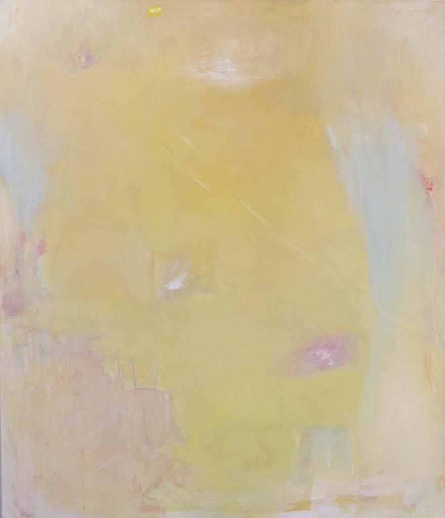 keltainen, pinkki turkoosi, minimalistinen abstrakti maalaus, unelmoiva tunnelma