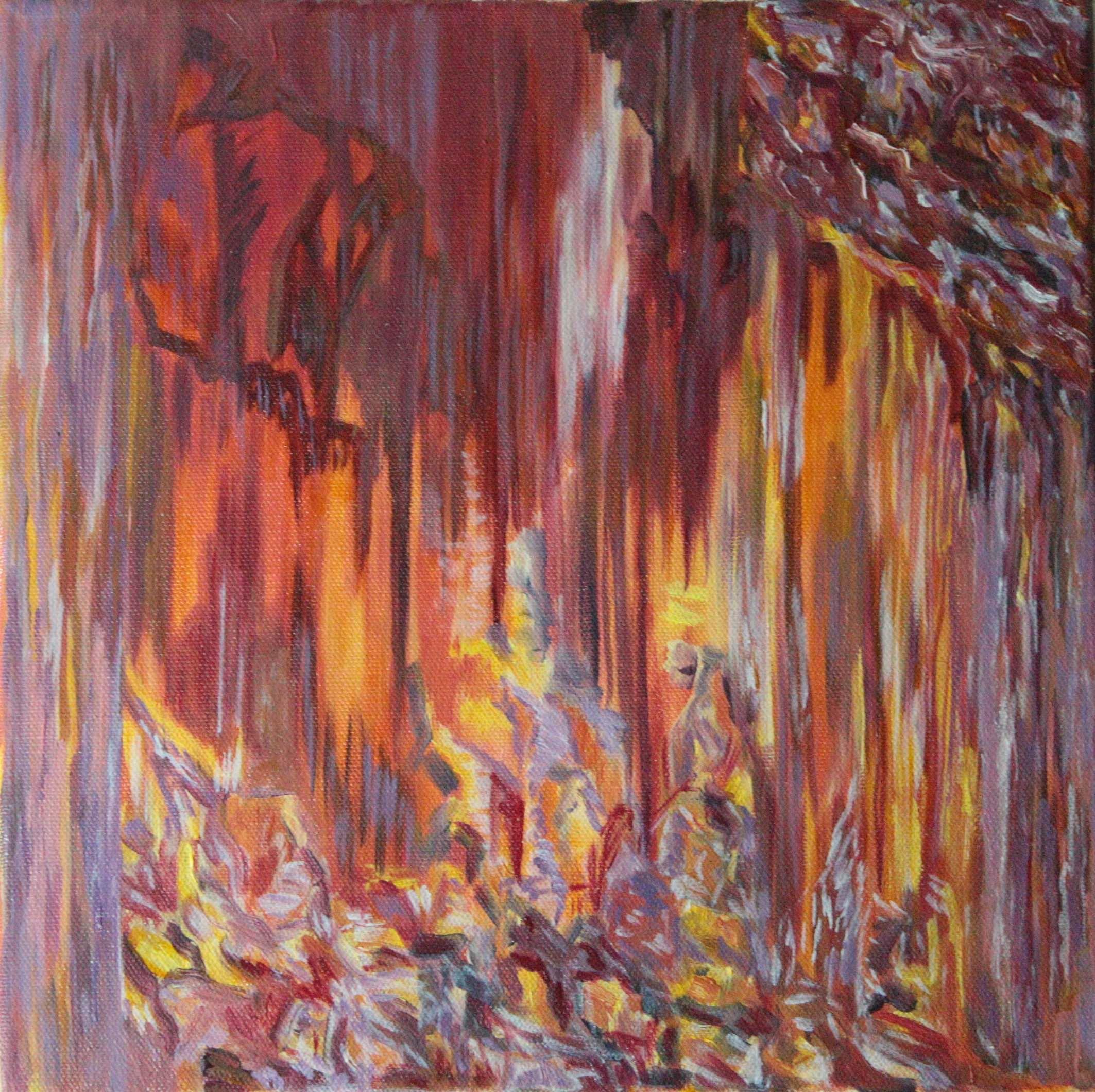 Abstrakti maalaus liilan, oranssin, keltaisen ja purppuranpunaisen väreissä.