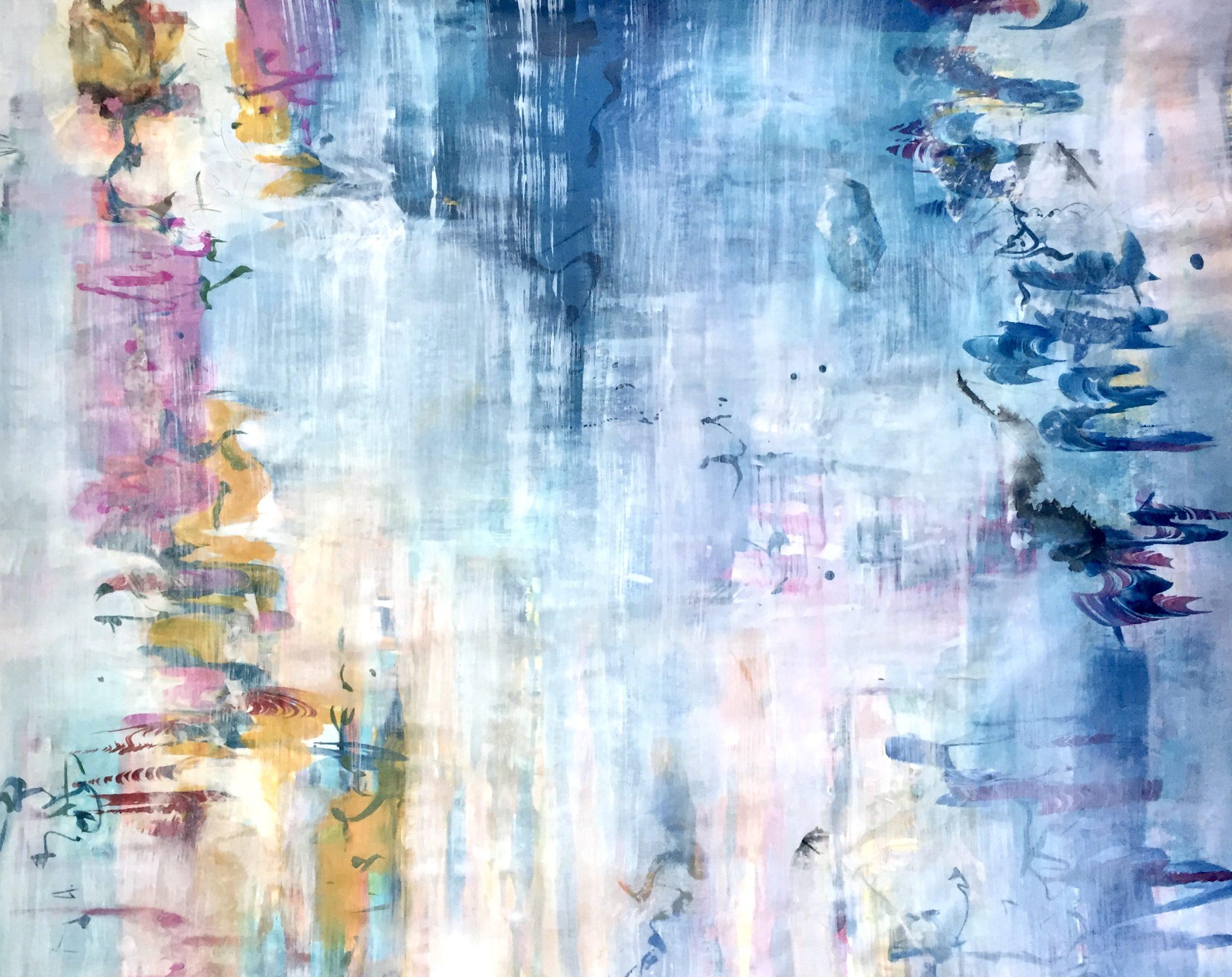 Abstrakti sinisävyinen iso maalaus. Aiheena on vesi.