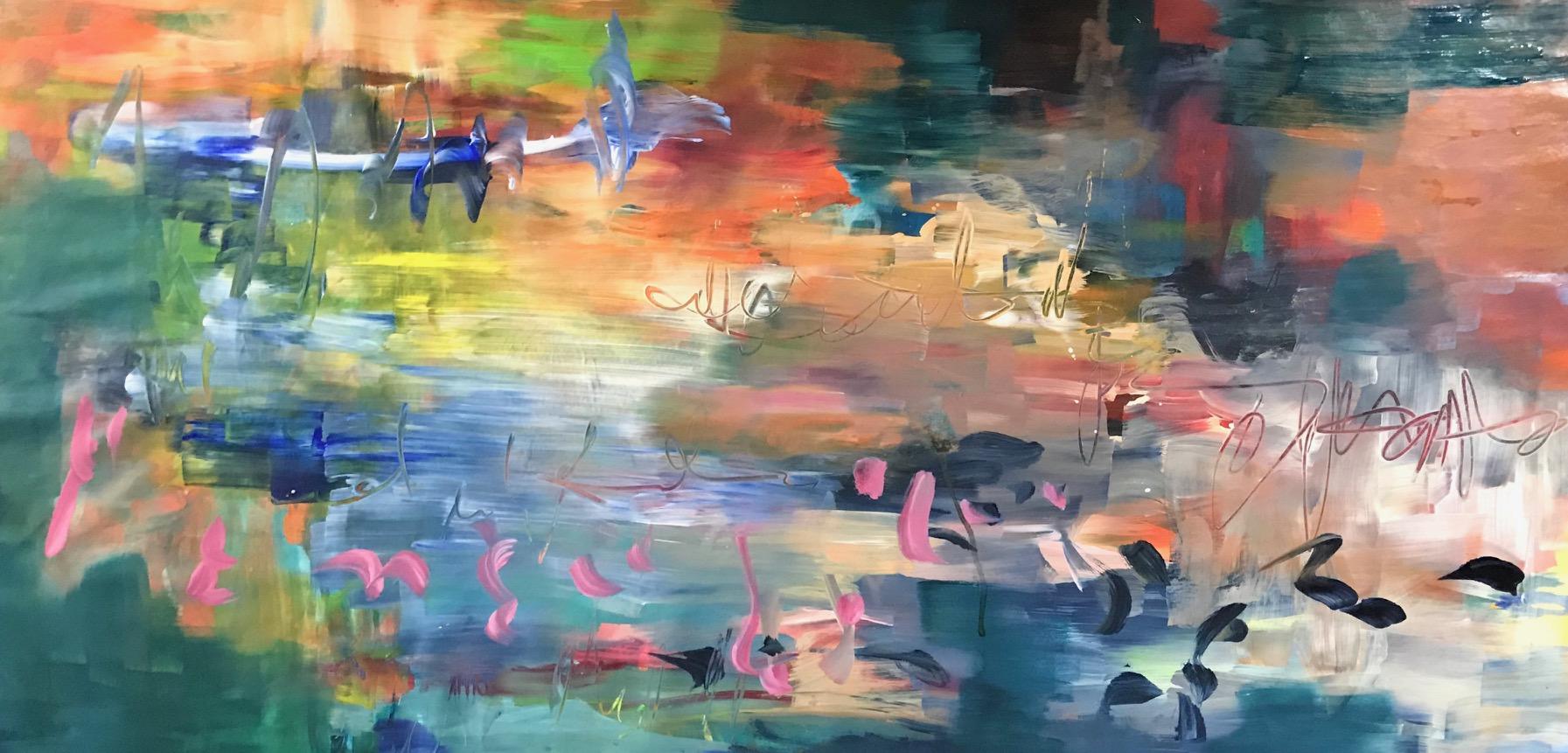 PItkänomainen värikäs maalaus, jossa aiheena on meri.Maalaus on abstrakti.