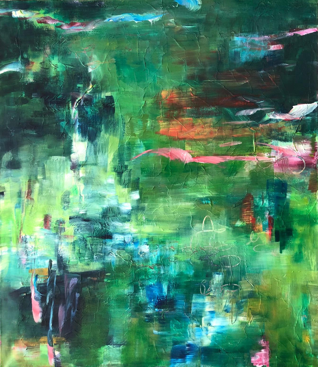 Iso,vihreä ja abstrakti maalaus. Tehty vahvoin ja helein vihrein värein. Maalauksessa lentää viittellisesti maaalttu lintu.